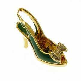 Chaussure miniature de collection saloma gina vert et or