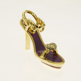 Chaussure miniature de collection saloma chiara violet et or