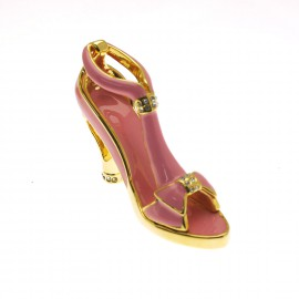 Chaussure miniature de collection saloma sophia rose et or