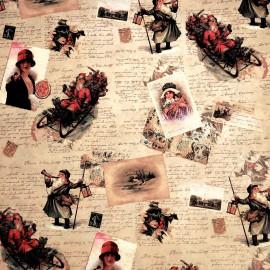 Papier tassotti motifs écritures de noël