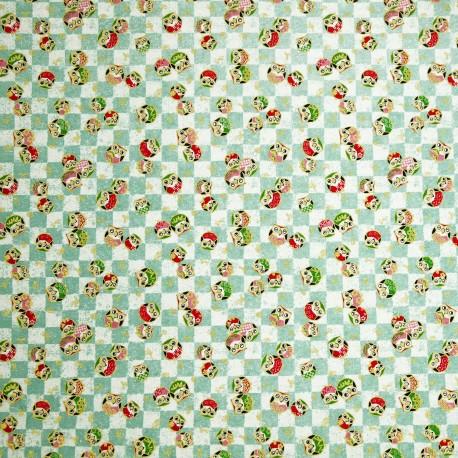 Papier japonais washi chouettes sur damier vert d'eau