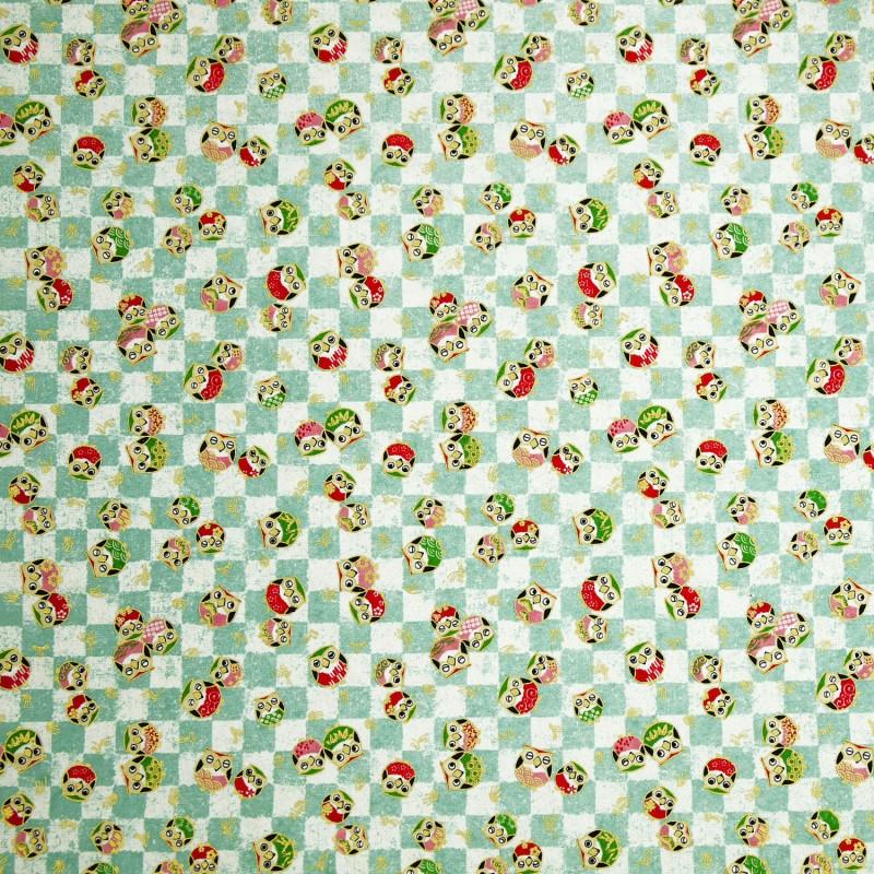 papier origami papier japonais washi petites chouettes vert d 39 eau blanc. Black Bedroom Furniture Sets. Home Design Ideas
