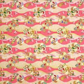 Papier japonais washi ondulations rose et rose pale