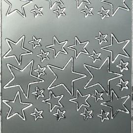 Sticker peel off adhésif argent étoile