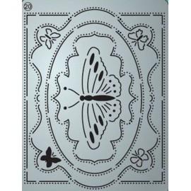 Pergamano mini grille embossage ciselage 20 étiquette papillon 71020