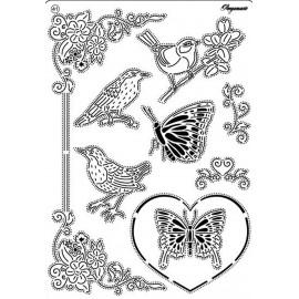 Pergamano grille embossage piquage 41, oiseaux et les papillons 31471