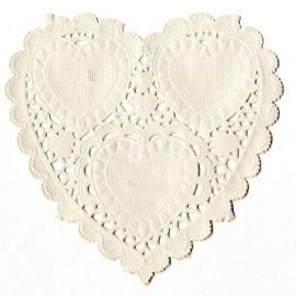 Napperon papier dentelle découpée coeur blanc 10cm