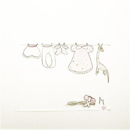 Aquarelle Brigitte Misériaux choupinets corde à linge rose