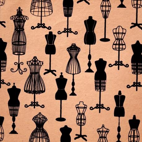 Papier à motifs pompadour poudré et noir