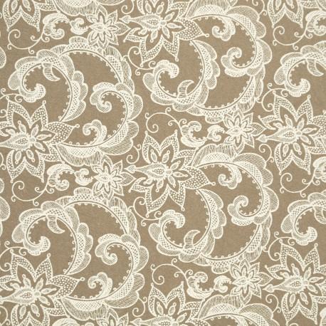 Papier à motifs angelina naturel et blanc