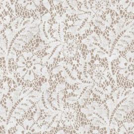 Papier à motifs calais dentelle gris et blanc