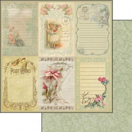 Papier scrapbooking réversible vintage carte postale roses anciennes