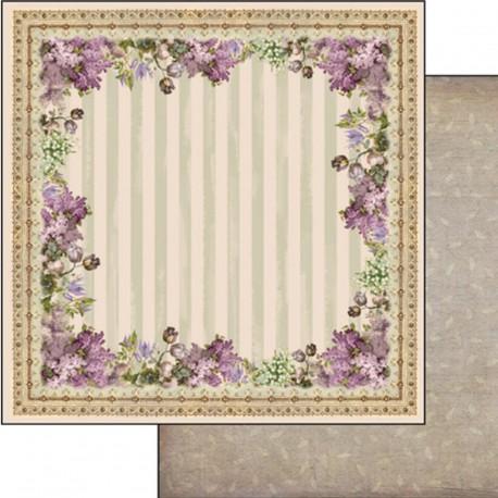 Papier scrapbooking réversible vintage cadre lilas