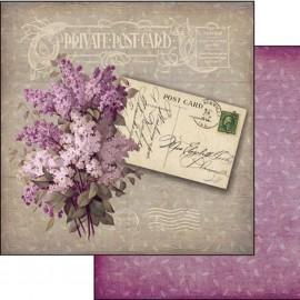 Papier scrapbooking réversible shabby chic lilas