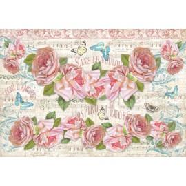 Papier de riz Stampéria fleurs musique et roses