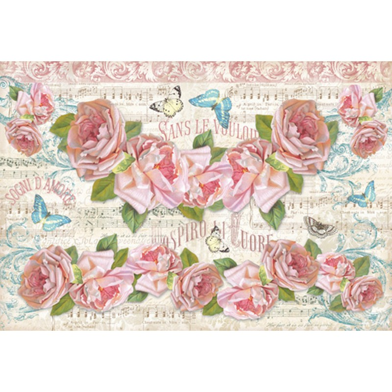 papier de riz stamperia pour d coupage fleurs musique roses. Black Bedroom Furniture Sets. Home Design Ideas