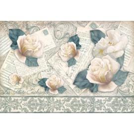 Papier de riz Stampéria vintage cartes postales et roses