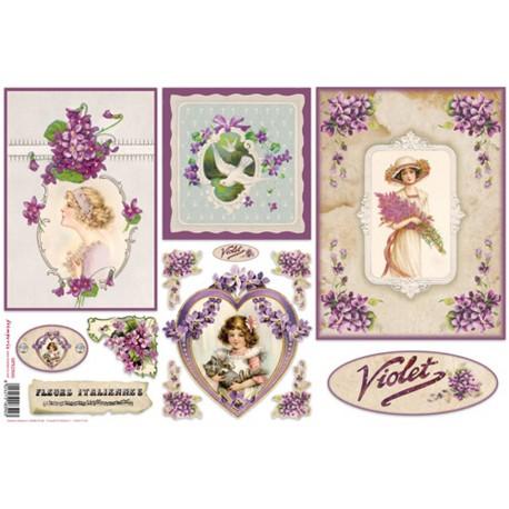 papier de riz imprim stamperia fleurs vintage violettes. Black Bedroom Furniture Sets. Home Design Ideas