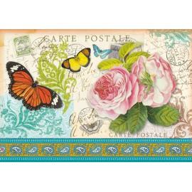 Papier de riz Stampéria carte postale et papillons