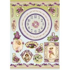 Papier de découpage Stampéria horloge violettes