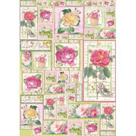 Papier de découpage Stampéria roses
