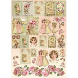 Papier de découpage Stampéria vintage roses