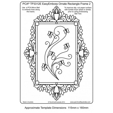 Template parchemin cadre rectangle arabesques et papillons