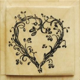 Tampon bois mariage coeur fleuri