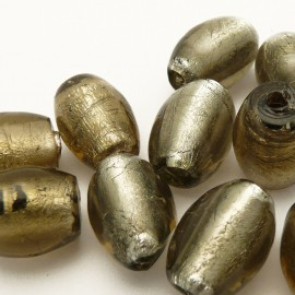 perles fantaisie en verre murrano venise olive 20mm gris