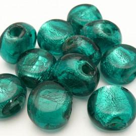 perles fantaisie en verre murrano venise ovale 1.5 cm turquoise