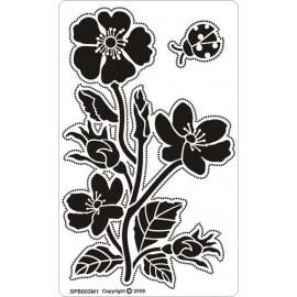 Siesta grille parchemin fleurs 8x14cm SPB003M