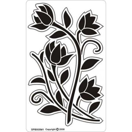 Siesta grille parchemin fleurs 8x14cm SPB005M