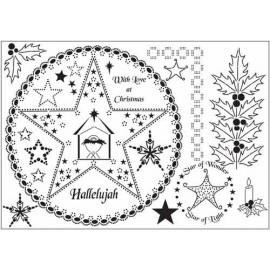 Siesta grille parchemin Noël étoile et houx Alison Yeates 21x15cm SPG0A05