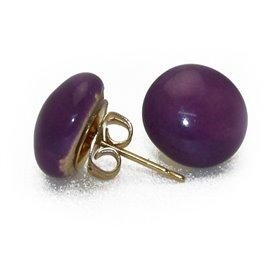 Boucles d'oreilles Kazuri céramique violet puce ronde 1cm