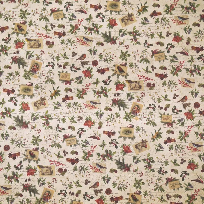 Papier italien Tassotti pour cartonnage motifs fleurs Noel
