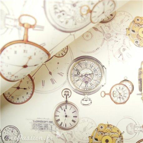 Papier tassotti motifs horloges