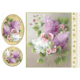 Papier de riz Stampéria bouquet de  lilas