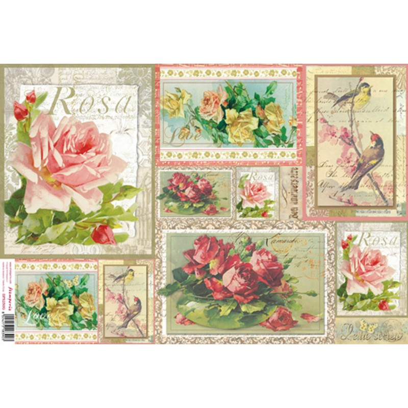 papier de riz stamperia pour d coupage carr roses rose. Black Bedroom Furniture Sets. Home Design Ideas