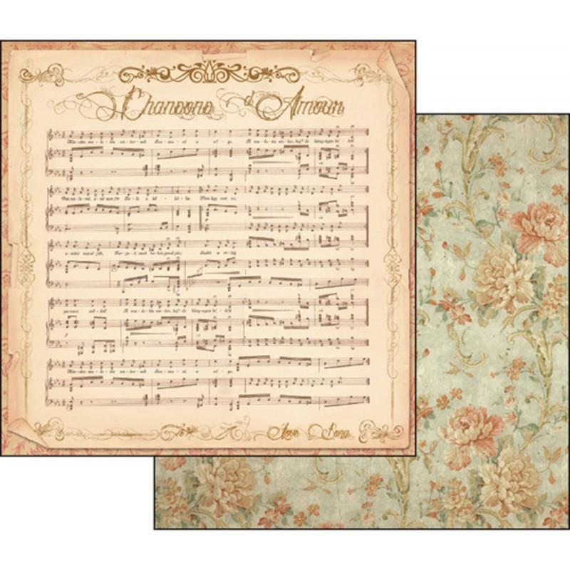 papier scrapbooking vintage r versible musique et roses anciennes. Black Bedroom Furniture Sets. Home Design Ideas