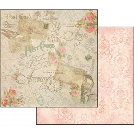 Papier scrapbooking réversible vintage cartes postales médaillons vieux rose
