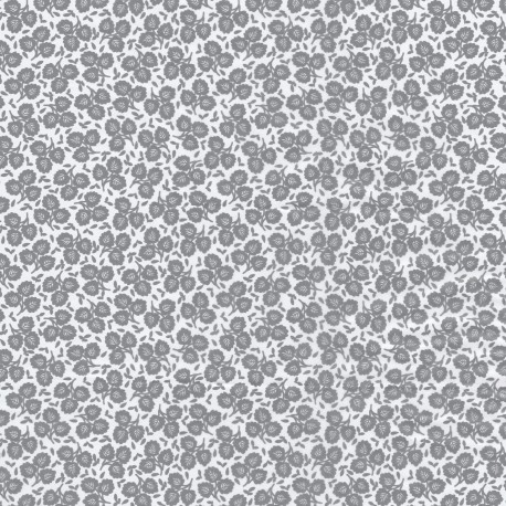 Feuilles décopatch week end à la campagne fond blanc motifs gris