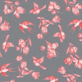 Feuilles décopatch week end à la campagne fond gris motifs rose