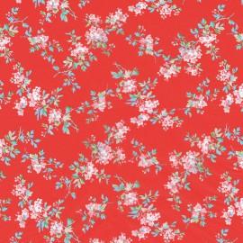 Feuilles décopatch tangram fond rouge petites fleurs roses