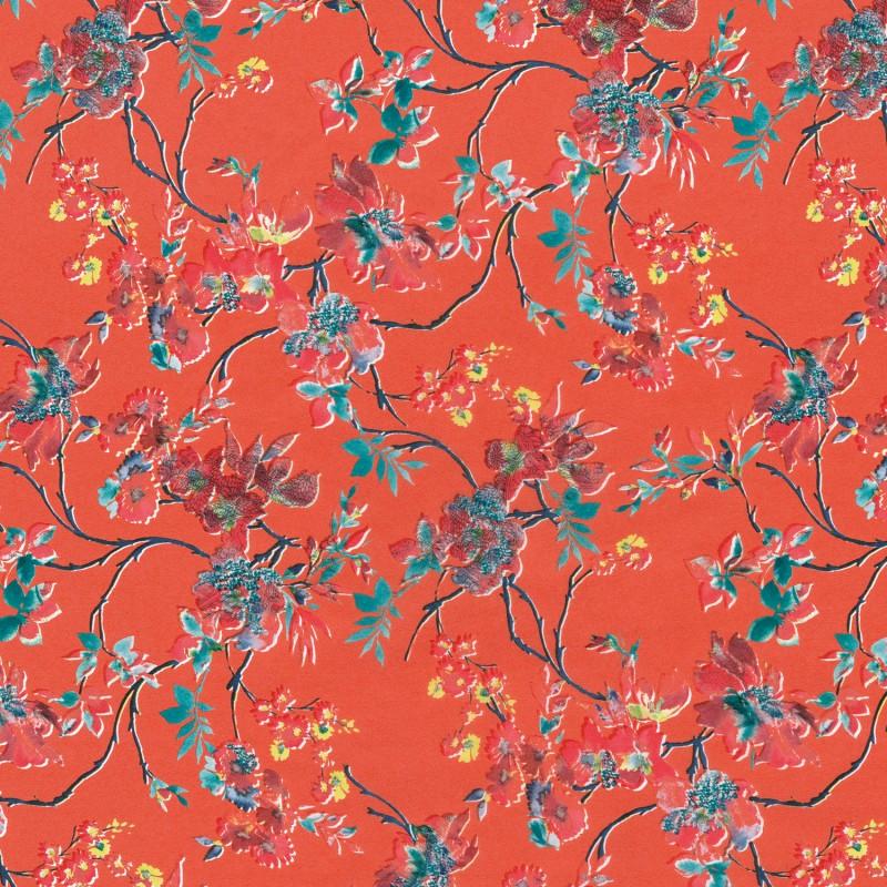 feuilles d copatch tropical fond orange fleurs rouge feuillage vert neuf ebay. Black Bedroom Furniture Sets. Home Design Ideas
