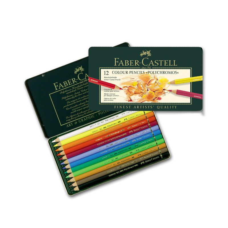 faber castell polychromos boite métal 12 crayons