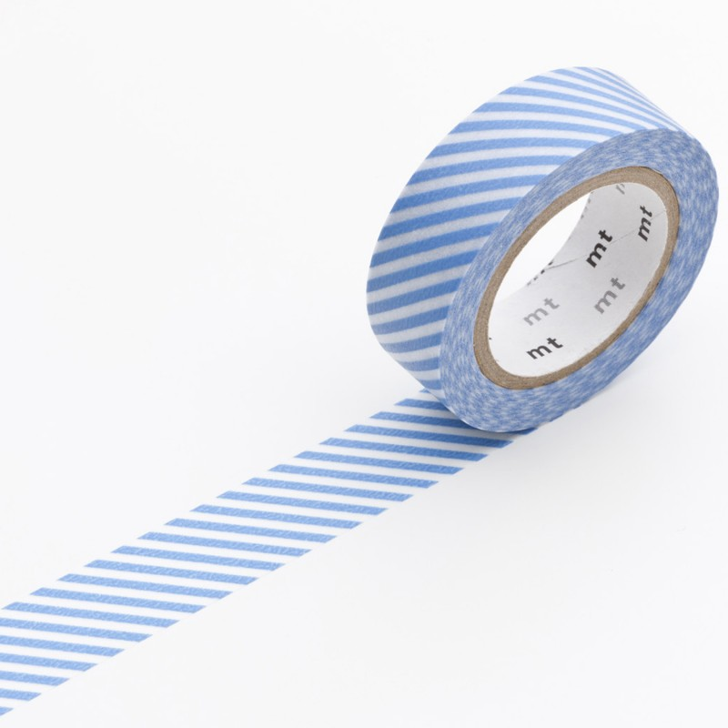 masking tape ray bleu blanc ruban papier adh sif washi neuf ebay. Black Bedroom Furniture Sets. Home Design Ideas