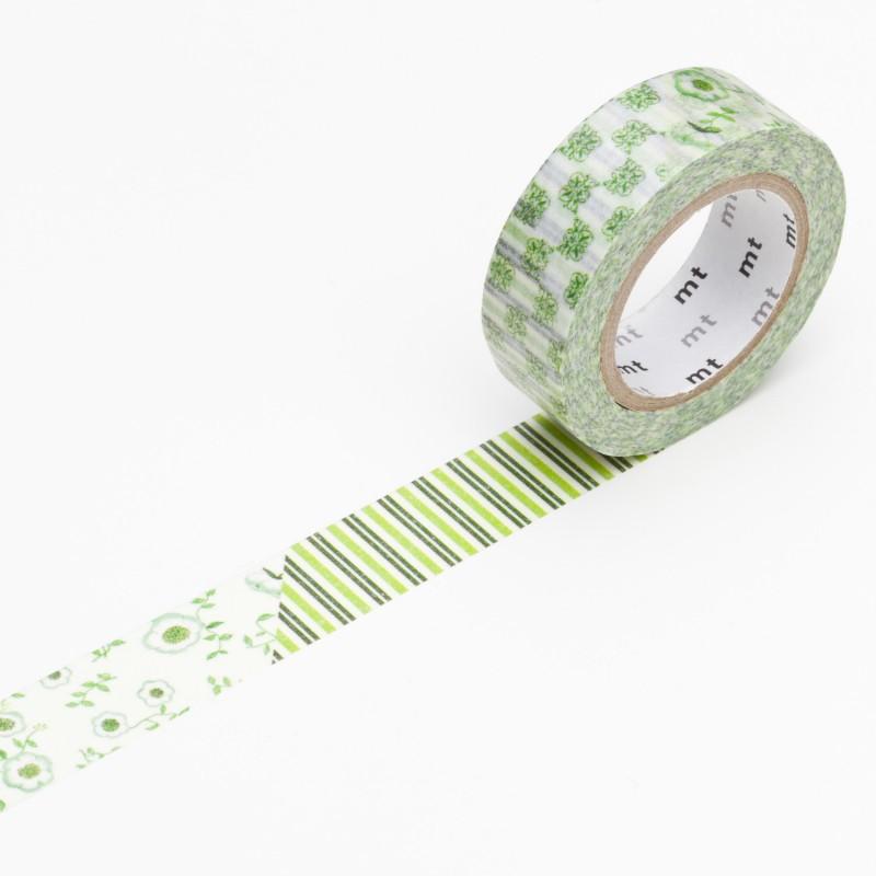 masking tape fleurs vert ruban papier adh sif washi pas cher. Black Bedroom Furniture Sets. Home Design Ideas