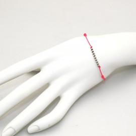 Bracelet Enomis cordon rose fluo perles argent 925