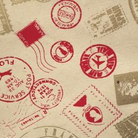 Papier népalais lokta imprimé timbre rouge et or