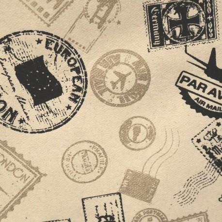Papier népalais lokta imprimé timbre noir et or